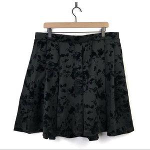 Torrid Black Floral Flocked Scuba Skater Skirt 2X
